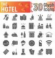 hotel glyph icon set service symbols collection vector image vector image