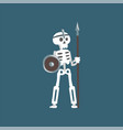 human skeleton warrior standing with spear and vector image vector image