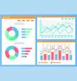 infographics and statistics charts and diagrams vector image vector image