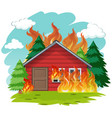 isolated cabin house on fire vector image vector image