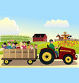 kids going on a hayride in a farm with corn