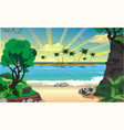 landscape island with palm trees in the ocean vector image vector image