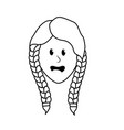 line pretty woman face with hairstyle vector image vector image