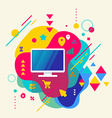 Monitor screen on abstract colorful spotted vector image vector image