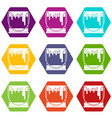 paint can icon set color hexahedron vector image vector image