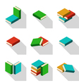 Set of stacks of multi colored books with shadow vector image