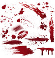 Set of various blood or paint splatters realistic