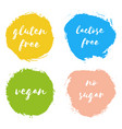 set of vegan gluten lactose free no sugar badges vector image vector image