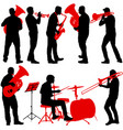 set silhouette of musician playing the trombone vector image vector image