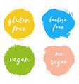 set vegan gluten lactose free no sugar badges vector image