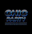 shiny logo chic party blue and black font vector image vector image