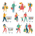 shopping people set man woman shop family cart vector image vector image