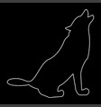 silhouette of the wolf white color path icon vector image