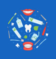 stomatological tools round shape dental care vector image vector image