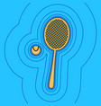 tennis racquet with ball sign sand color vector image vector image