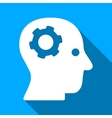 Thinking Mechanical Head Flat Long Shadow Square vector image vector image