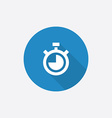 timer Flat Blue Simple Icon with long shadow vector image vector image