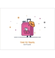 Travel concept Suitcase flat outline vector image vector image
