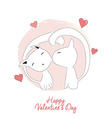 Two cats kissing happy Valentines day vector image