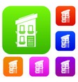 two-storey house set collection vector image vector image