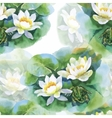 Watercolor white water-lilly flowers seamless vector image