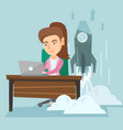 woman working on a laptop on a business start up vector image vector image