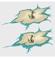 Icon anchor old ship on the sand vector image