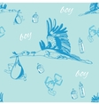 seamless pattern of stork with baby boy and vector image
