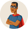 african male superhero wearing cape and a mask vector image