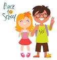 Back to school print design with two kids vector image vector image