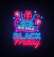 black friday sale concept banner in fashionable vector image