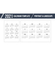 calendar grid for 2021 year on white background vector image vector image
