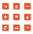 christmas trip icons set grunge style vector image