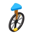 Circus unicycle isometric 3d icon vector image