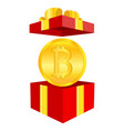 coin bitcoin in a gift box the concept of crypto vector image
