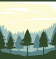 colorful background with dawn landscape of forest vector image vector image