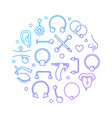 colorful piercing round on vector image vector image