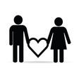 couple holding heart silhouette vector image vector image