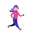 cute running girl in winter gear on white vector image
