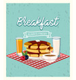 delicious pancakes with orange juice and coffee vector image