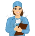 female doctor or nurse taking notes vector image vector image