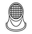 fencing helmet icon outline style vector image