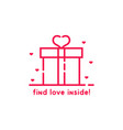 find love inside pink gift box vector image vector image