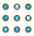 fishing spot icons set flat style vector image vector image