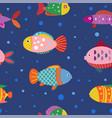geometric fish pattern seamless pattern vector image vector image
