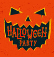 halloween party invitation card halloween pumpkin vector image vector image
