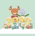 happy new year 2020 celebration cute bear reindeer vector image vector image