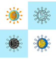 hepatitis cell icon set in flat and line style vector image