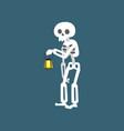 human skeleton standing with vintage lantern dead vector image vector image