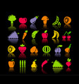 icons of vegetables and fruit vector image vector image